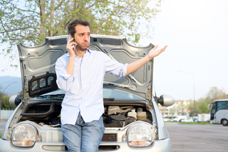 Upset Man Calling Assistance Mechanic Service After Car Breakdown ...