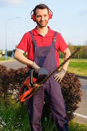 paysagiste: Gardien professionnel vêtu de salopettes de sécurité à l'aide d'un coupe-haies Banque d'images