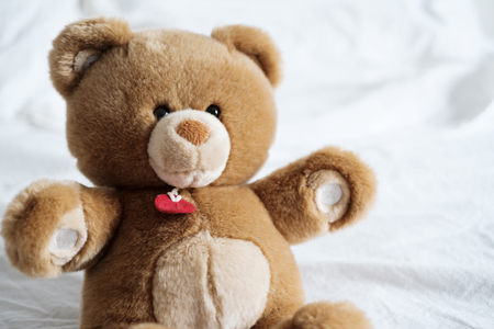 Cozy and soft teddy bear lying on the bed in the morning light Stock Photo