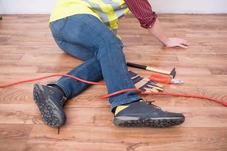 Worker injured after tripping on  a cable