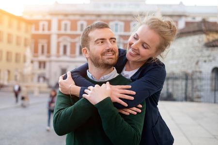 Portrait of real happy couple