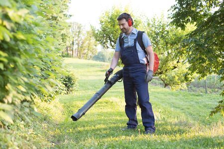 Gardener clearing up the leaves using a leaf blower tool photo