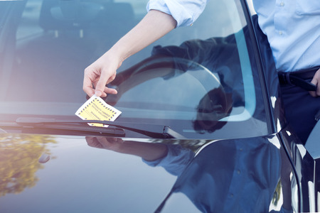 Ticket fine because of parking violation on the windshield Stock Photo
