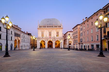 Main downtown of italian city of Brescia near Garda lake called piazza loggia