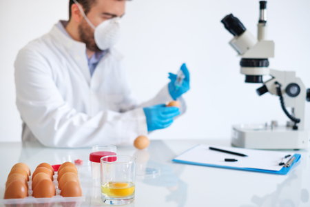 Researcher wearing white coat analyzing quality of GMO eggs sample while standing at modern laboratory