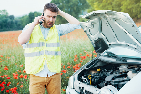Driver in trouble after vehicle breakdown waiting for help Reklamní fotografie