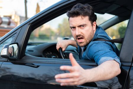 Angry and rude man driving road rage Stok Fotoğraf