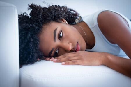 Tired afro american woman portrait at home Stockfoto - 132028862