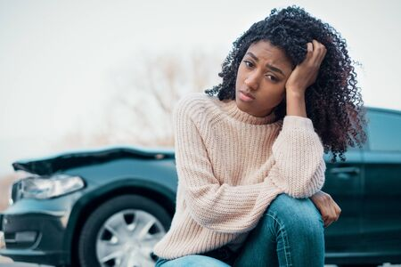 Injured black woman after bad car accident