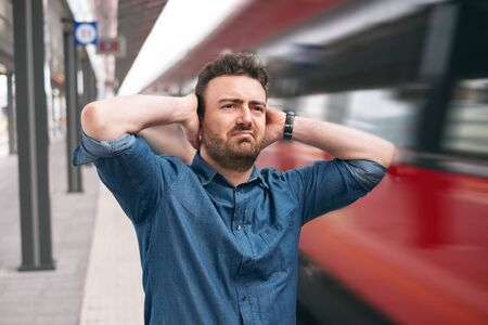 Man lost the train arrived late to the station platform