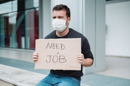 Jobless man looking for a job asking money help after covid-19 crisis