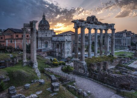 Imperial Fora (Imperial Forums - Imperial Forum) Epic Sunrise. Imperial Fora is situated in the Old Rome, it is one of the most famous attraction of the Capital.