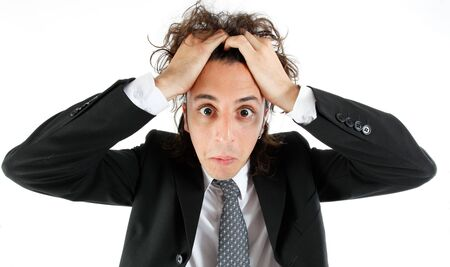 wanhopig: Gelaats expressie jonge man Stockfoto