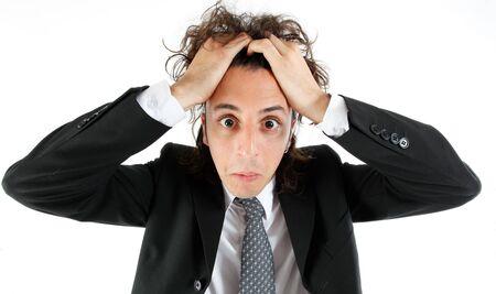 desperate: joven empresario expresi�n facial Foto de archivo