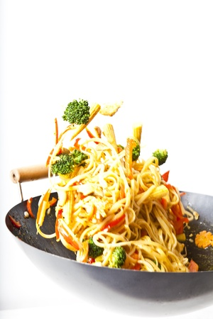 stir fry: fried noodles asian style food