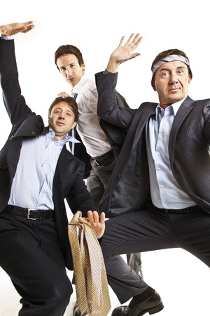 crazy businessmen dancing photo