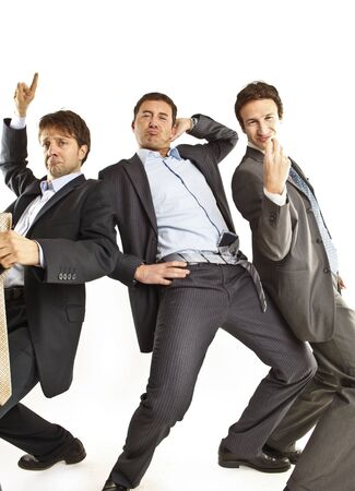 crazy businessmen dancing photo