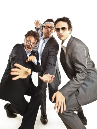 1 and group: crazy businessmen dancing Stock Photo