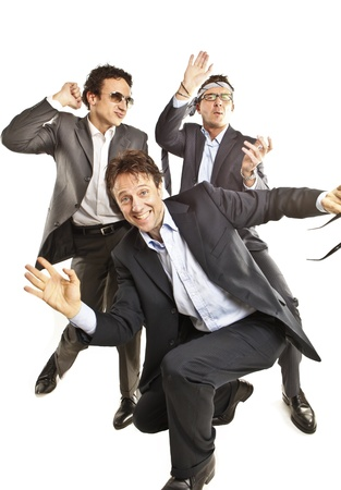 crazy businessmen dancing Stock Photo - 9733275
