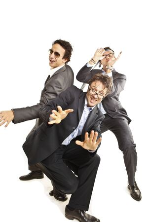 crazy businessmen dancing Stock Photo
