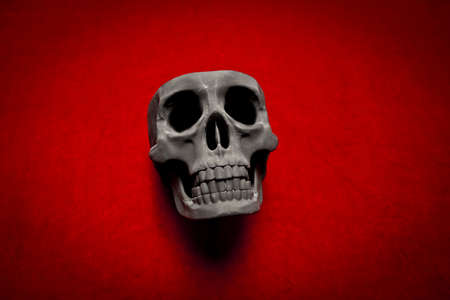 black scary human skull on red velvet background Stock Photo - 9733771