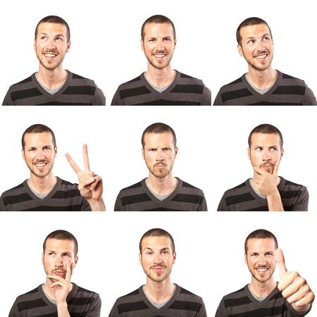 mucha gente: compuesto de expresiones de cara joven aislada sobre fondo blanco Foto de archivo