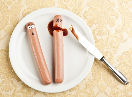 funny picture of murdered hotdog Stock Photo - 9734026