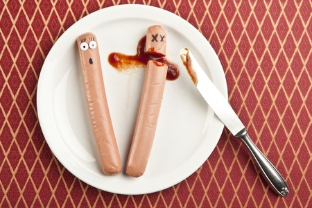 murdered: funny picture of murdered hotdog