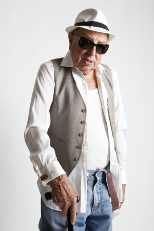 fashion cool elder man Stock Photo