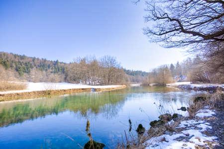 river in winter season photo