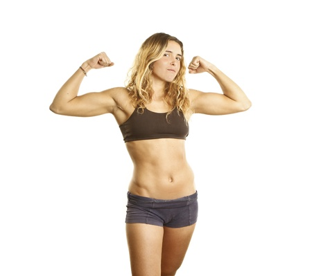 female bodybuilder: young athlete girl showing muscles Stock Photo