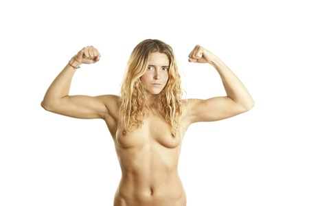 muscle girl: young beautiful nude girl showing muscles Stock Photo