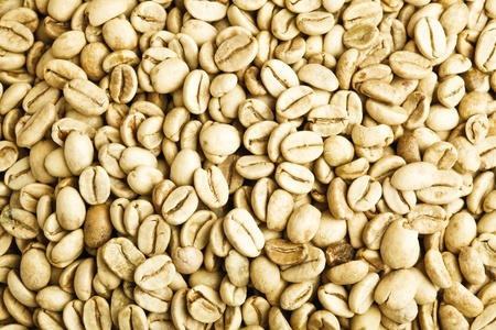 unroasted: green unroasted coffee beans