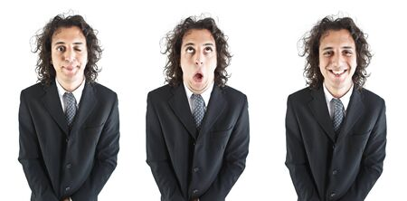 young businessmans face expressions photo