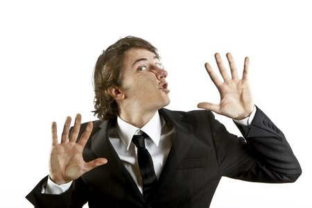 unplanned: young businessman crushed on a glass Stock Photo