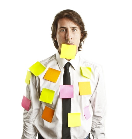 young man covered by notes photo