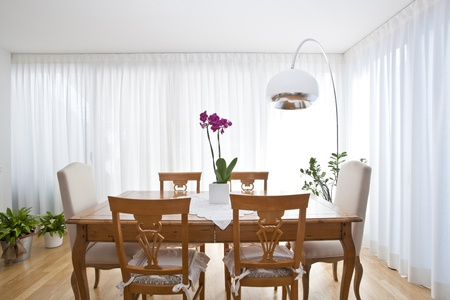 modern dining room with white curtains Stock Photo - 9851127
