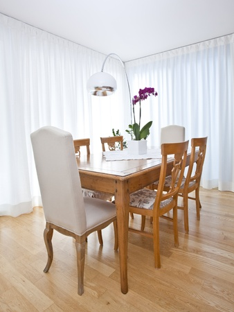 modern dining room with white curtains Stock Photo - 9851132
