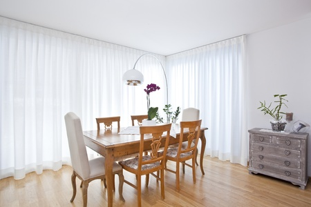modern dining room with white curtains Stock fotó