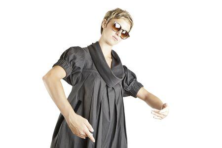 girl fashion portrait with sunglasses photo
