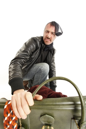 bank robber with vintage suitcase Stock Photo - 10598158