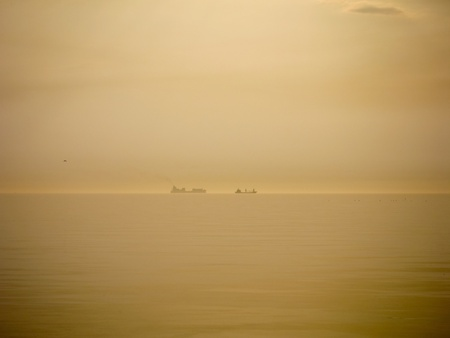 tanker ship on a peaceful sunset photo