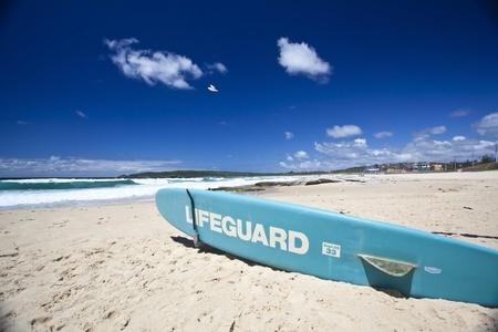 Lifeguard Surfboard on Australian beach photo