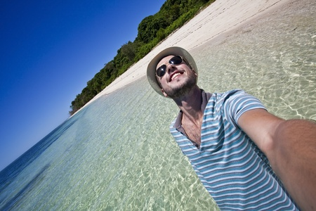 self portrait in a tropical paradise Stock Photo