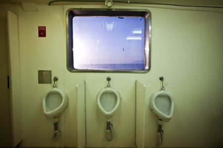 toilette: public toilette with sea view Stock Photo