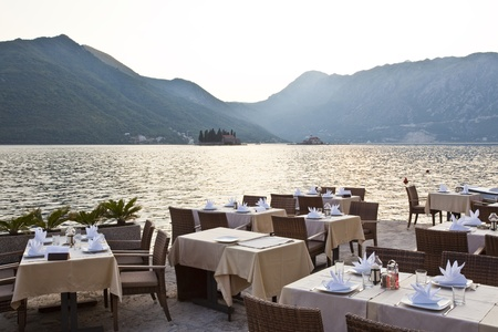 outdoor cafe: luxury restaurant on the sea in kotor bay