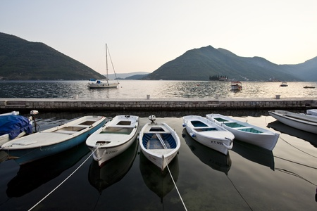 kotor: fishing boat in kotor bay, montenegro