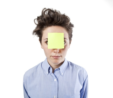 pretty young girl with post it notes photo