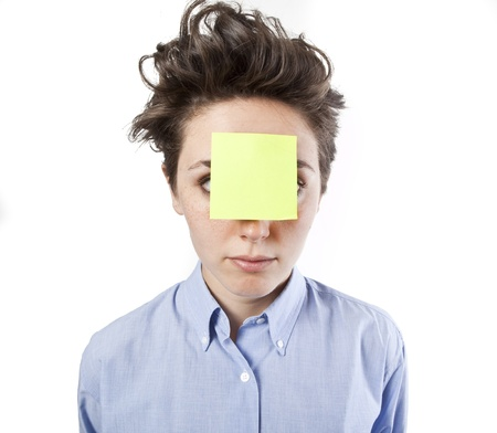 postits: pretty young girl with post it notes