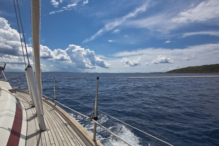 navigating:  sailing boat pictured from on board